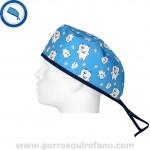 Gorro Quirofano para Dentistas Azul con Muelas Divertidas – Hombre