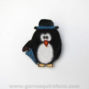 Broche de Fieltro Pinguino Gentleman