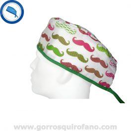Gorros Cirugia Movember Bigotes Verde Fuxia