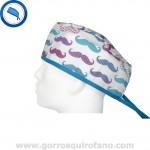 Gorros Quirofano Movember Moustache Azul Fuxia