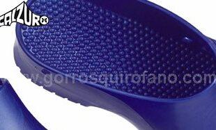 Zuecos Calzuro azul metalizado suela