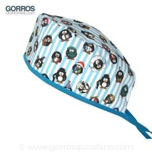 Gorros Quirofano 715 Pinguinos rayas azules
