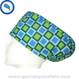 Gorros quirofano 240 Cuadros Verde Azul