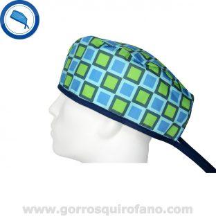 Gorros quirofano 725 cuadros azules verdes
