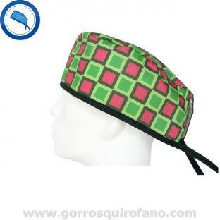 Gorros quirofano 726 cuadros verdes rosas