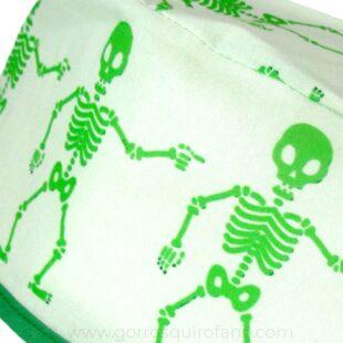 Gorros Quirofano Hombre 732 Pelo Corto Esqueletos Verdes 2