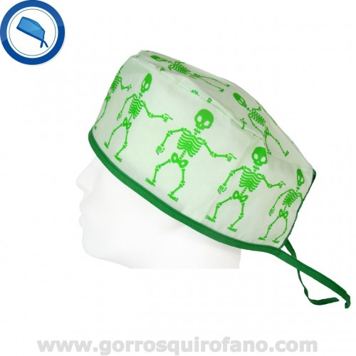 Gorros Quirofano Hombre 732 Pelo Corto Esqueletos Verdes