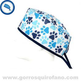 Gorros Quirofano Veterinario Huellas Perros Azules