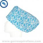 Gorros para el quirofano simbolo paz azul
