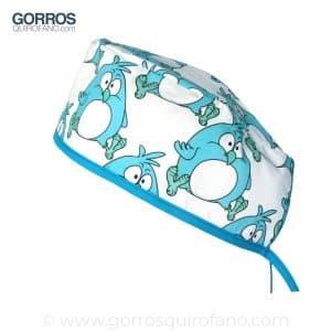 Gorros quirofano divertidos pollito azul - 788