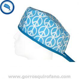 Gorros Quirofano Simbolo Paz Azul - 793