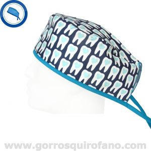 Gorros Dentistas Muelas Corazon Tiras Azules - 802