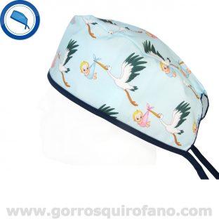 Gorros Quirofano Cigueñas Bebes Azules Tiras - 805