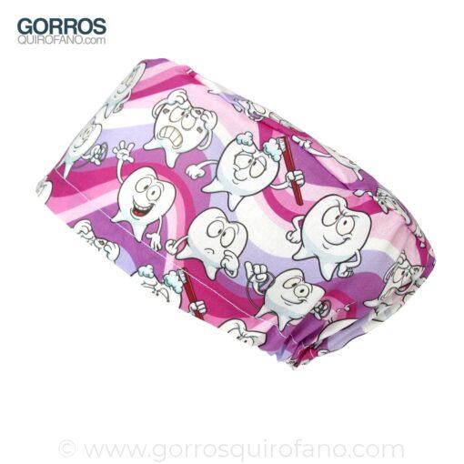 Gorros Dentistas Divertidos Muelas Rosa Morado - 341