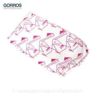Gorros Quirofano Flamencos Fuxias fondo blanco - 343