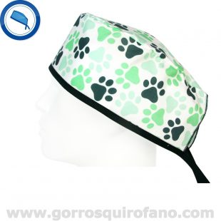 Gorros quirofano huellas verdes grandes - 810