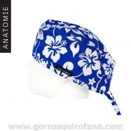 Gorros Quirofano Hombre ANATOMIE Flores Hawaianas Azul y Blanco ANA054