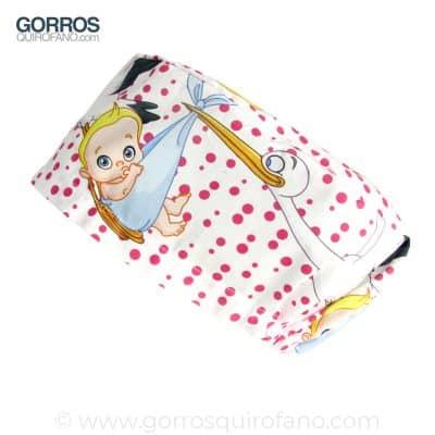 Gorros Quirofano Matronas Divertidos Cigueñas Bebes Fuxia - 350