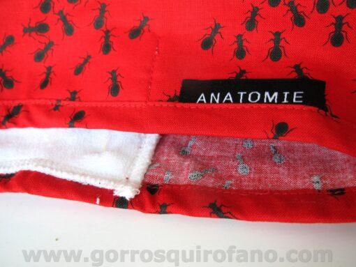 Gorros de quirófano con cinta sudor rojos ANATOMIE con hormigas - ANA052