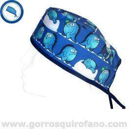 Gorros Quirofano Monstruos Divertidos Azules - 819