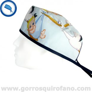 Gorros Pediatria Bebes Cigueñas Azules - 823