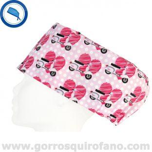 Gorros para Quirofano Mujer Corazones Vespas Rosas - 355