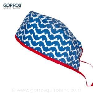 Gorros Quirofano Azules Huesos Chevron - 841