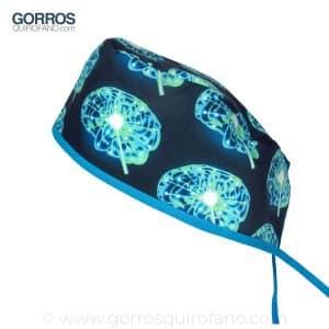 Gorros Quirofano Cerebros Azul y Verde Electrico - 840