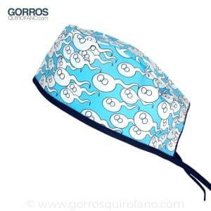 Gorros Quirofano Espermatozoides Divertidos Azul - 848