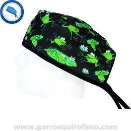 Gorros Quirofano Divertidos Ranas Saltando Negro - 853