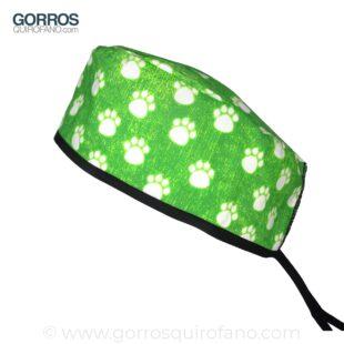 Gorros Veterinarios Huellas Neon Verde - 851