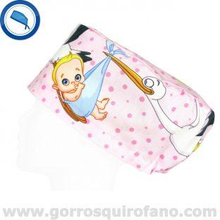 Gorros Quirofano Cigueñas Bebes Grandes Rosa - 378