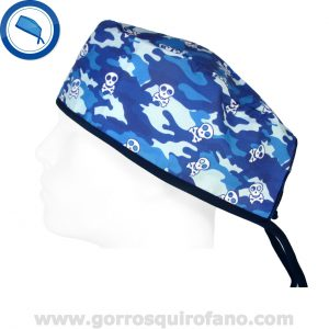 Gorros quirofano 854 Calaveras Camuflaje azul