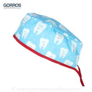 Gorros de quirófano muelas sonrientes fondo azul - 871
