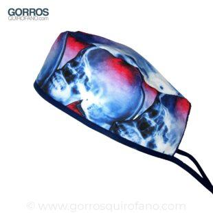Gorros de quirófano Cráneos dañados azul y rojo - 870