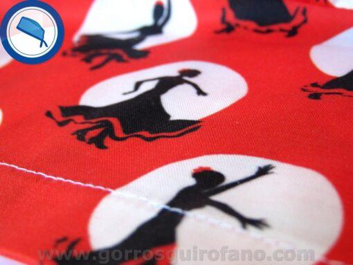 Detalle Gorros Quirofano Rojos Lunares Flamenco - 419c