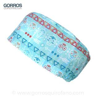 Gorros Quirofano Calaveras fondo menta acuarela - 420