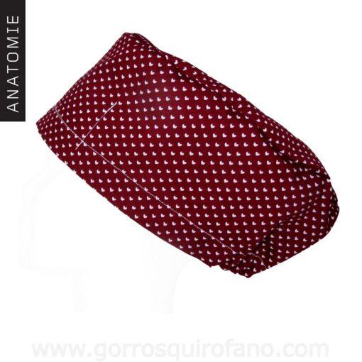 Gorros Quirofano ANTOMIE Corazones Burdeos - AM1167