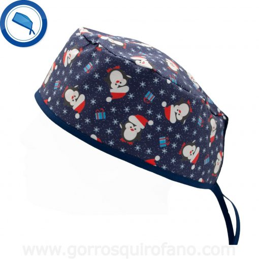 Gorros Quirofano Azules Pinguinos Navidad - 893