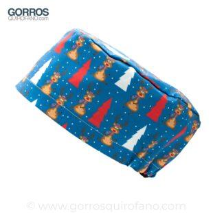 Gorros Quirofano Renos Arbol Navidad Azul - 434